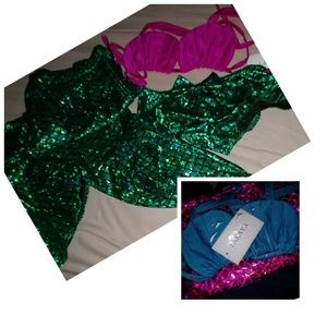 Girl's Mermaid Constume in Blue w/ Pink Tail